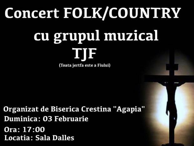 Afis Concert Folk-Country La Biserica Agapia Bucuresti 3.02.2013