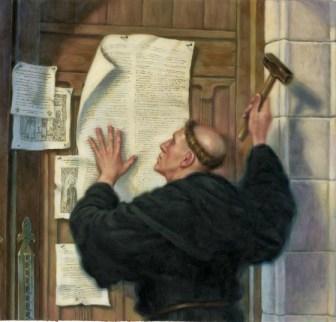 Martin Luther bătând în cuie cele 95 de teze (kevinnunez.org)