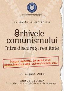 Afiș Conferință Arhivele Comunismului 2013