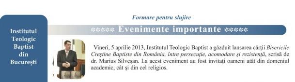 Newsletter ITB iunie 2013.Lansare carte Marius Silveșan aprilie 2013