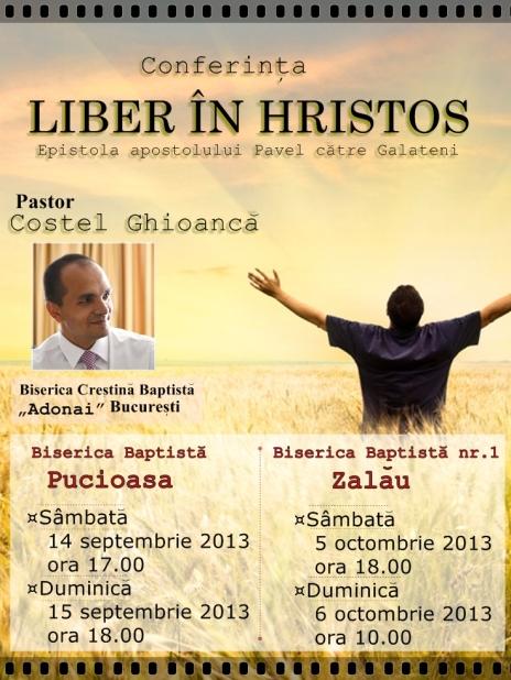 Afis Conferinta Liber in Hristos cu Costel Ghioancă