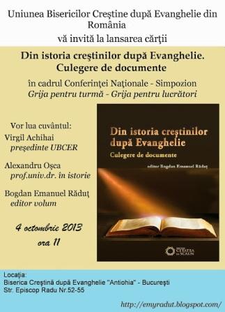Afis lansare carte. Din istoria Crestinilor după Evanghelie