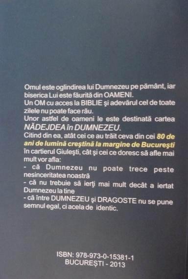 Nădejdea ăn Dumnezeu 1933-2013. 80 de ani de lumină creștină la margine de București - coperta 4