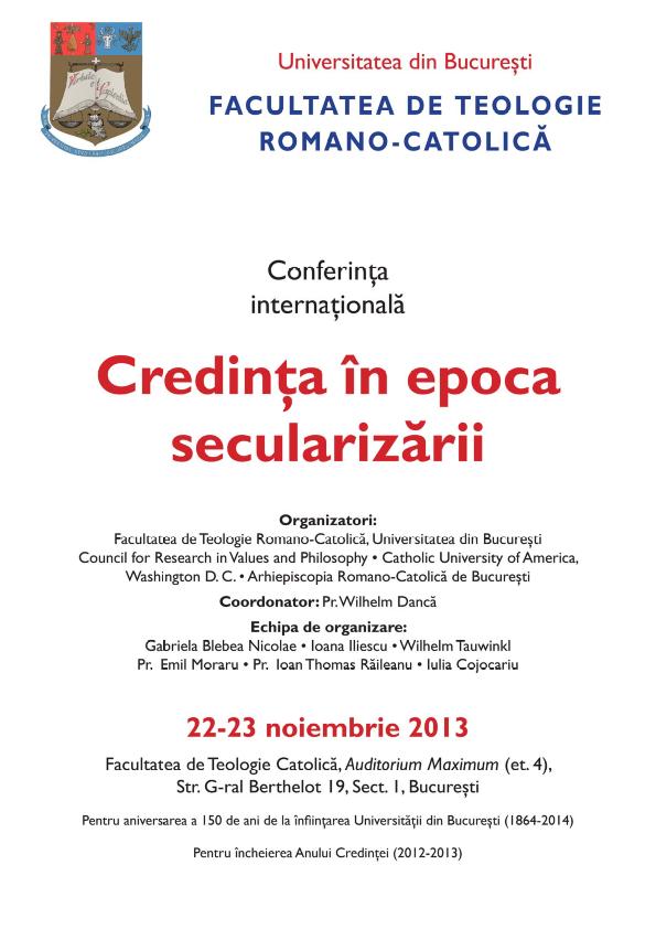 Afiș Conferința internațională Credința în epoca secularizării