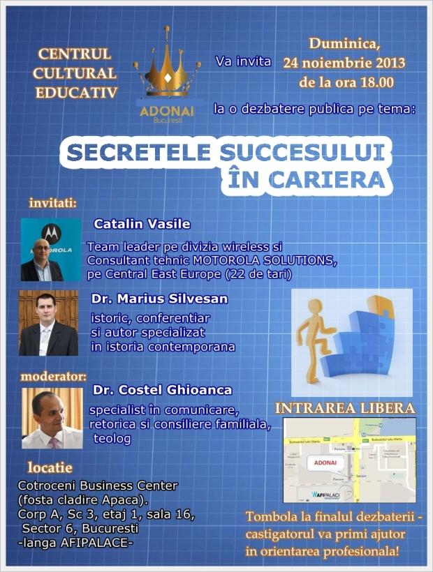 Afis Dezbatere publica Secretele succesului in carieră