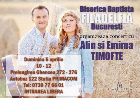 Afis Alin și Emima Timofte la BCB Filadelfia București