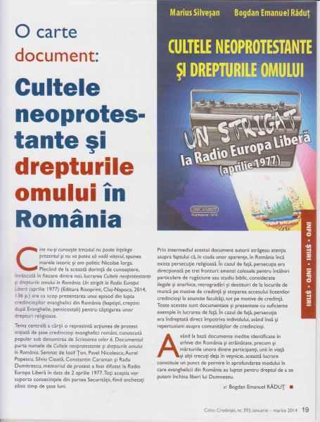 Emanuel Rădut, O carte document. Cultele neoprotestante și drepturile omului în România