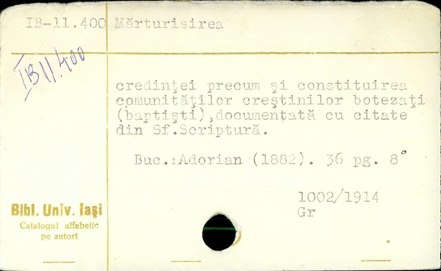 Constantin Adorian, Marturisirea credintei si constituirea comunitatilor baptiste (1882)