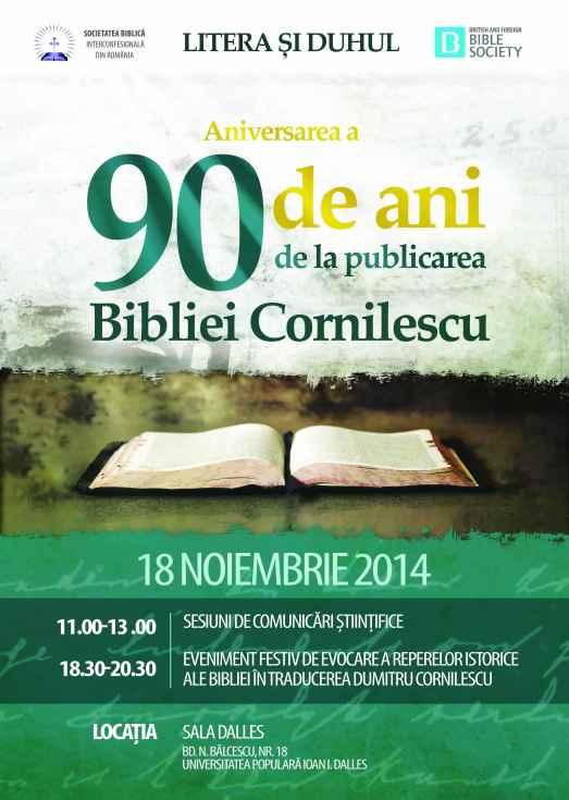 """Litera și Duhul"". A 90-a aniversare a Bibliei Cornilescu (1924)."