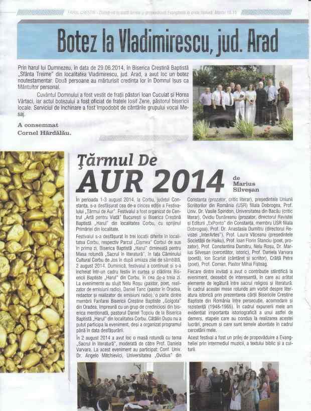 Farul - Articol  Festivalul Țărmul de Aur 2014