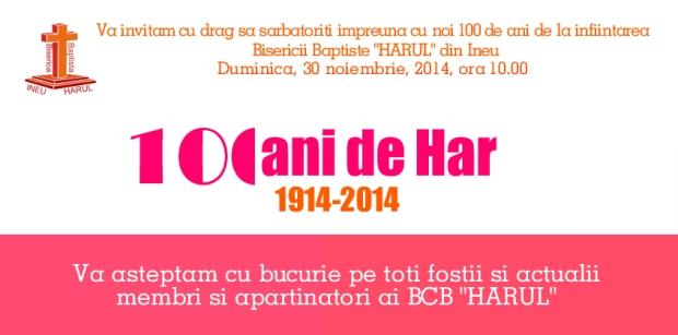 "Invitați la Centenarul BCB ""Harul"" din Ineu, jud. Arad (2014)"