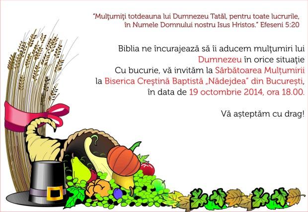 Invitație. Sărbătoarea mulțumirii la BCB Nădejdea Bucuresti 2014