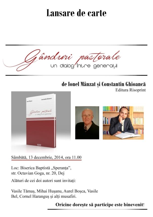 Afis lansare carte Ionel Mânzat, Costel Ghioancă - Gânduri pastorale