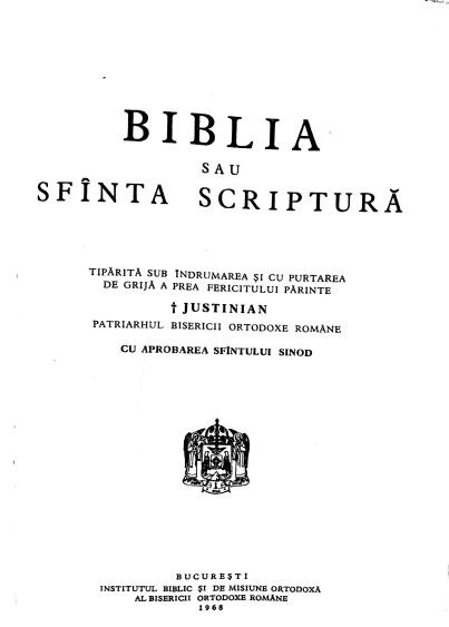 Biblia BOR 1968. PPagina de titlu