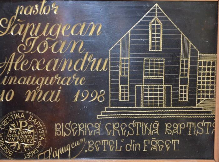Placă comemorativă inaugurare BCB Betel Făget (1998)