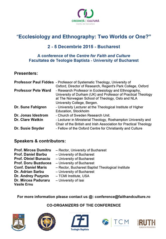 Conferință cu Paul Fiddes 2015