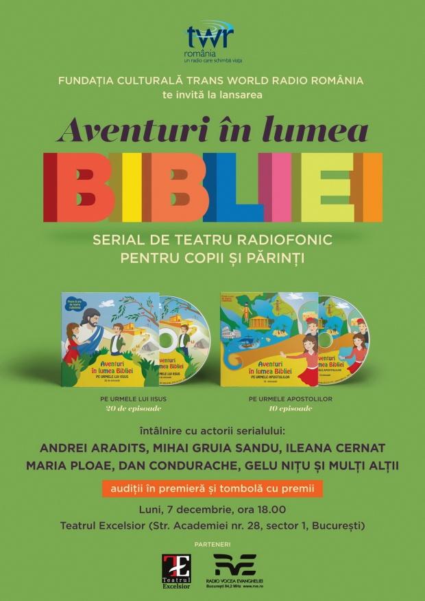 Afis lansare CD Aventuri în lumea Bibliei