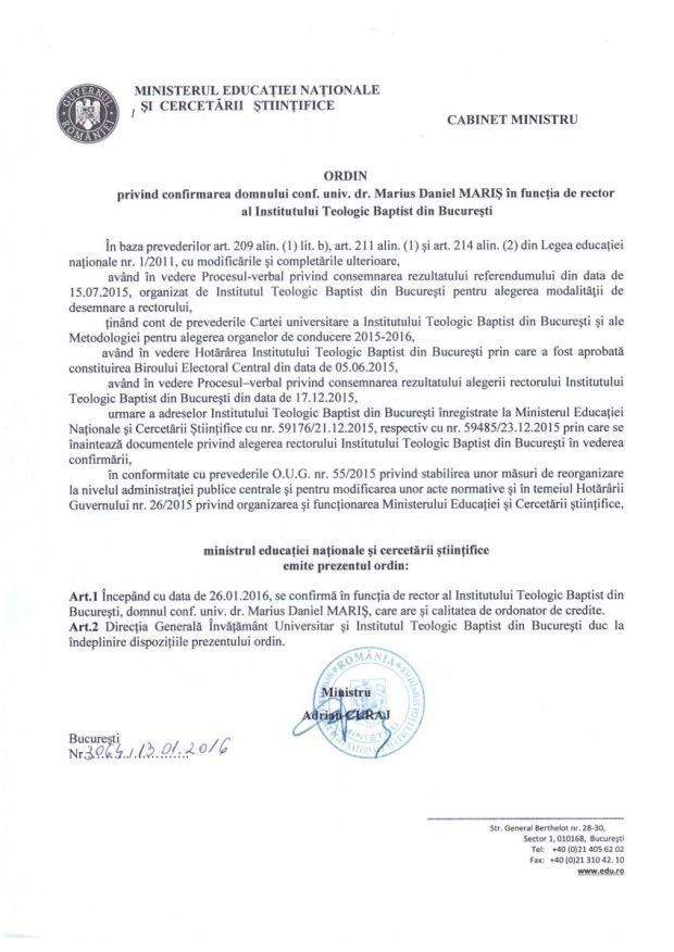MENCS - Ordin Ministru Confirmare Rector Marius Daniel Maris