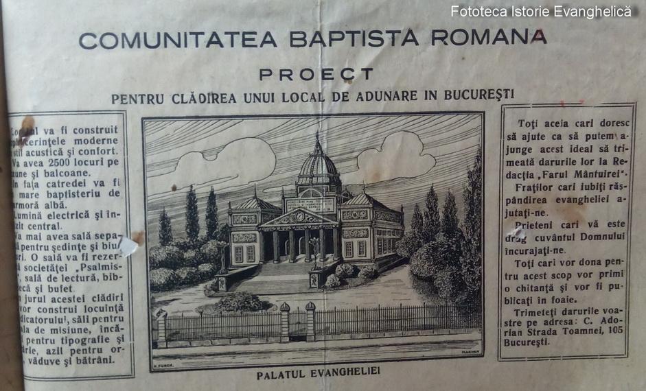 1920 - Proiect - Palatul Evangheliei în București