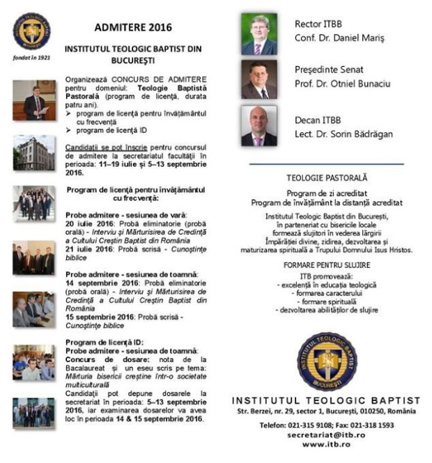 Admitere 2016 ITB Bucuresti
