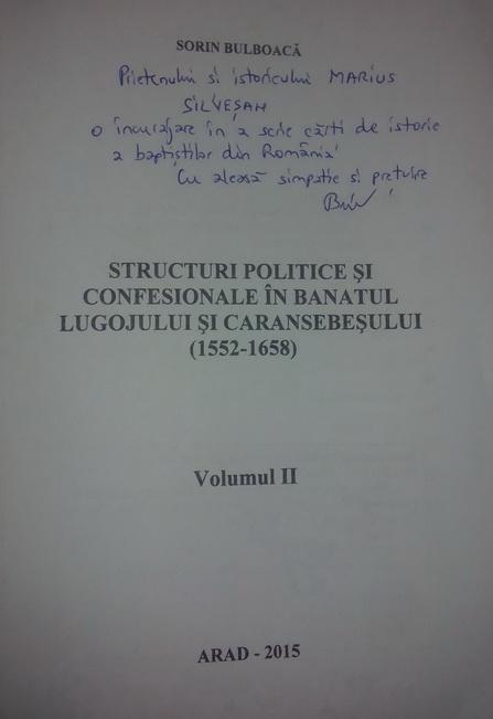 Sorin Bulboacă, Structuri politice si confesionale in Banatul Lugojului si caransebesului (1522-1658) (2)