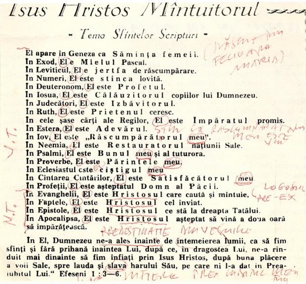 Isus Hristos Mîntuitorul. Tema Sf. Scripturi