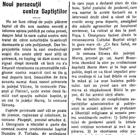 1930 – Noi persecuții împotriva Baptiștilor
